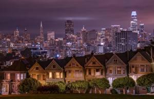 Фотография Штаты Здания Небоскребы Сан-Франциско Калифорния Ночь город
