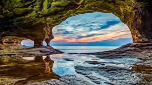 Фотографии Штаты Парк Озеро Арки Утес National Lakeshore, Lake Superior, Michigan Природа