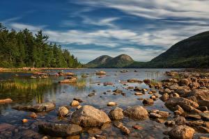 Картинка Штаты Парк Горы Камень Озеро Acadia National Park Природа