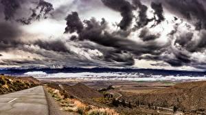 Фотографии США Дороги Небо Туч Калифорнии Холм Owens Valley Природа