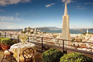Картинка Штаты Небоскребы Калифорнии Стола Сан-Франциско Кафе