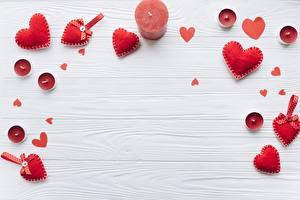 Фото День всех влюблённых Свечи Сердца Шаблон поздравительной открытки Красная