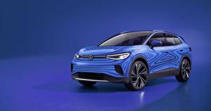 Картинка Volkswagen Цветной фон Голубых Синий 2020 ID.4 Prototype автомобиль