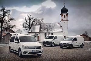 Фотографии Фольксваген Белых Трое 3 Caddy, Transporter Автомобили