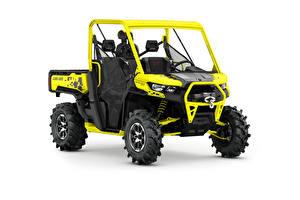 Картинка ATV Желтый Белый фон Can-Am Defender X mr HD10