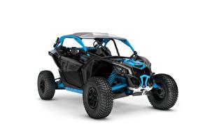 Фотографии Квадроцикл Синий Белый фон Can-Am Maverick X rc Turbo R