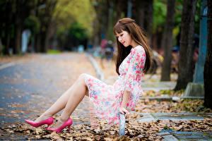 Фотографии Азиаты Сидящие Туфлях Ноги Лист Платье Боке девушка