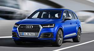 Картинки Audi CUV Синий Движение Боке Металлик SQ7 TDI, 2016 Автомобили