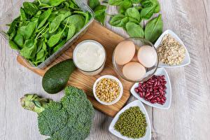 Картинка Авокадо Молоко Овощи Мюсли Горох Разделочная доска Яйца Фасоль бобы Здоровое питание Продукты питания