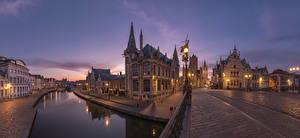 Картинки Бельгия Гент Здания Мост Водный канал Ночь Уличные фонари Улице Города