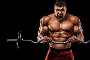 Фото Бодибилдинг Мужчины Штангой Тренировка Мускулы Руки спортивная