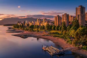 Фотография Канада Дома Побережье Вечер Ванкувер Города