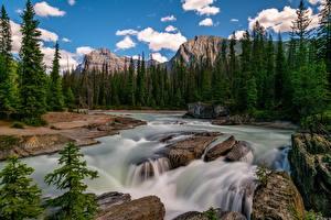 Картинки Канада Парк Горы Реки Камни Пейзаж Дерево Облачно Yoho National Park