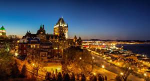 Фото Канада Квебек Здания Замок Ночные Chateau Frontenac