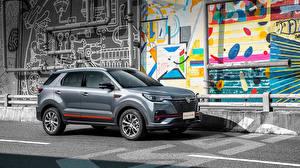 Картинки Changan CUV Серая Металлик Сбоку Китайская CS55 Plus Blue Drive, 2020 машина