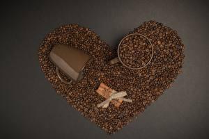 Обои Кофе Корица Зерно Кружки Сердечко Бантики Сером фоне Пища