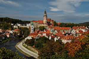 Картинка Чехия Дома Замки Речка Башня Český Krumlov