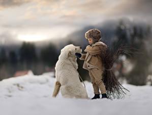 Фотография Собаки Мальчишки Снега Боке Животные