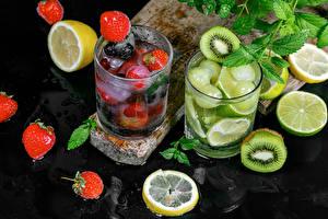 Обои Напитки Киви Клубника Лимоны Лайм Лимонад Стакане Еда