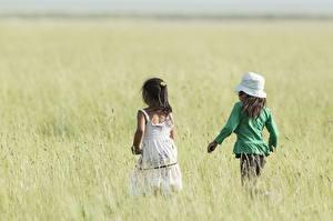 Картинки Поля Девочки Размытый фон Два Сзади Шляпа Прогулка