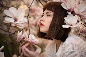 Обои для рабочего стола Цветущие деревья Магнолия Шатенка Ветка Katharina девушка Цветы
