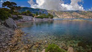 Картинки Франция Берег Камень Залива Saint Jean Cap Ferrat Природа