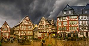Картинка Германия Дома Фонтаны Улиц Кафе Wetzlar, Hesse