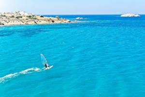 Картинки Греция Серфинг Побережье Море Naxos City Природа