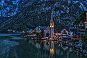 Фотография Халльштатт Австрия Берег Здания Пирсы Церковь Ночные город