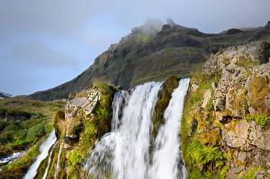 Картинка Исландия Горы Водопады Скала Мха
