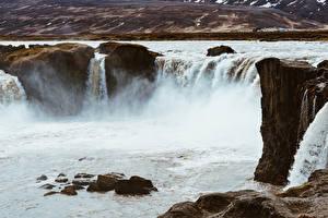 Фото Исландия Речка Водопады Камни Godafoss, Northeast, river Schallwandler Природа