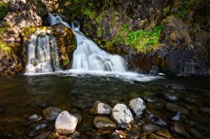 Фото Исландия Водопады Камень Ручеек Природа