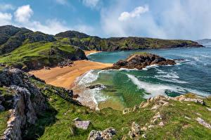 Картинка Ирландия Побережье Камни Океан Утес Donegal, Murder Hole Beach