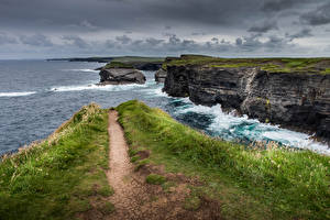 Фотография Ирландия Море Побережье Утес Kilkee Природа