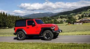 Обои Jeep SUV Красных Сбоку Wrangler, Rubicon EU-spec, 2018 машины