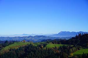 Картинки Горы Лес Швейцария Горизонта Холмы Альп Pilatus, Canton Lucerne Природа