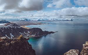 Фотография Гора Море Норвегия Снег island Andoya, fylke Nordland