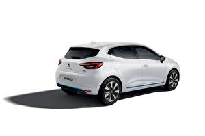 Картинки Renault Белые Металлик Белым фоном Clio E-TECH, 2020 машины