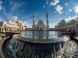 Обои Россия Храм Пруд Водопады Мечеть Bulgar White mosque Kazan, Tatarstan Города