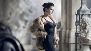 Фотографии Скульптуры Брюнетки Позирует Платья Шубе молодые женщины
