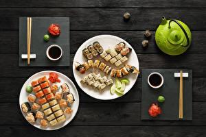 Картинки Суши Тарелке Палочки для еды Соевый соус Еда
