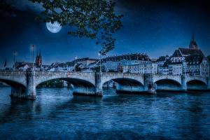 Фото Швейцария Здания Река Мосты В ночи Луна Уличные фонари Basel Города