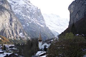 Фотография Швейцария Зимние Церковь Скала Lauterbrunnen, Canton Bern, Interlaken County Природа