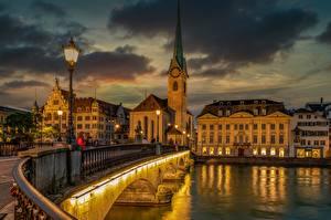 Картинка Швейцария Цюрих Мост Речка Дома Уличные фонари Limmat город