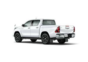 Картинки Toyota Пикап кузов Белый Металлик Белым фоном Hilux Z Double Cab, JP-spec, 2020