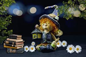 Картинка Игрушка Ромашки Книга Сидит Шляпа Лампа