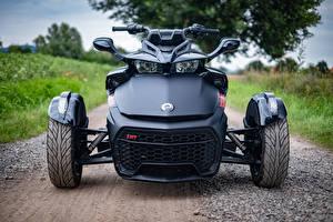 Фотографии Трицикл Черные Спереди Can-Am Spyder F3-S Мотоциклы