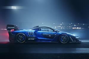 Фотография Тюнинг Макларен Сбоку Синий GTR Senna track car