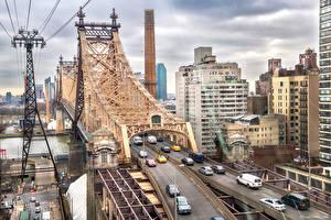 Фотография США Дома Реки Мосты Нью-Йорк Queensboro Bridge