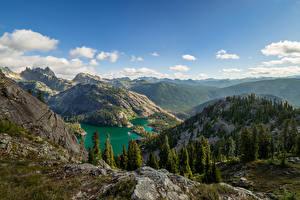 Фото Штаты Гора Озеро Пейзаж Ели Мха Chickamin Mountain